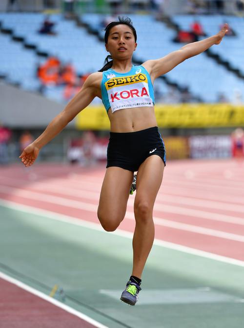 女子走り幅跳び 6メートル07の記録で6位となる高良彩花(撮影・清水貴仁)