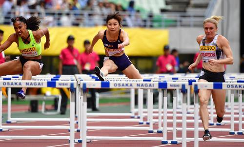 女子100メートル障害 13秒11で日本人最上位の6位となる木村文子(撮影・清水貴仁)