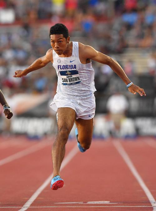 全米大学選手権男子100メートル決勝で3位のサニブラウンは、9秒97で日本記録を更新(撮影・菅敏)