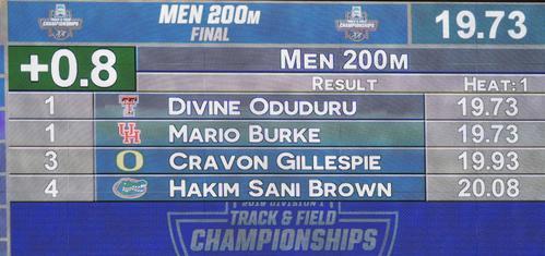 全米大学選手権男子200メートル決勝でサニブラウンが出した20秒08を表示する電光掲示板(撮影・菅敏)