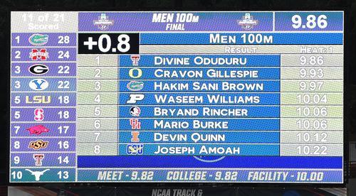 全米大学選手権男子100メートル決勝で3位のサニブラウンが出した9秒97を表示する電光掲示板(撮影・菅敏)