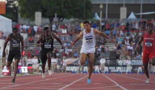 全米大学選手権男子100メートル決勝で3位のサニブラウン(左から3人目)は、9秒97で日本記録を更新(撮影・菅敏)