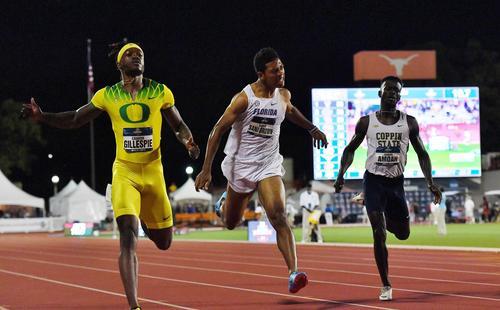 全米大学選手権男子200メートル決勝で20秒08で3位でゴールするサニブラウン(撮影・菅敏)