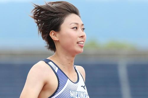 女子100メートル予選 予選3組目 3着の市川華菜(撮影・梅根麻紀)=2018年6月27日、博多の森陸上競技場