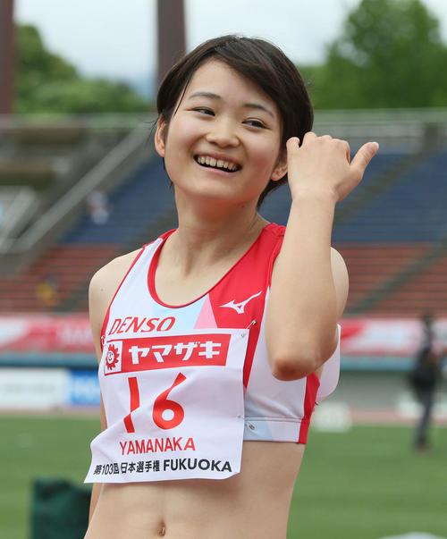女子100m予選 女子100m予選に参加した山中日菜美(撮影・栗木一考)