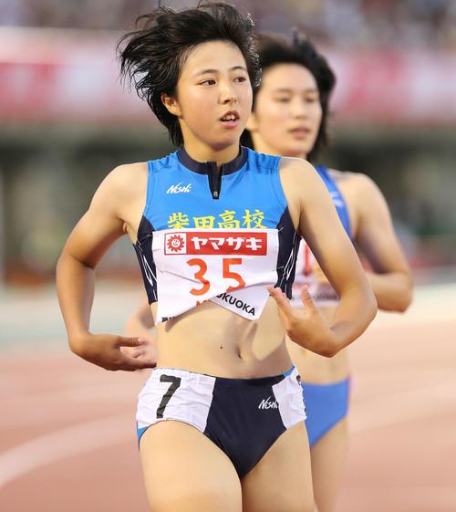 女子100メートル準決勝 準決勝で1着となった三浦由奈(撮影・梅根麻紀)