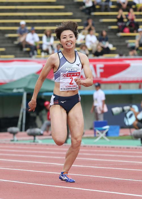 女子100メートル予選 予選3組目 3着の市川華菜(撮影・梅根麻紀)