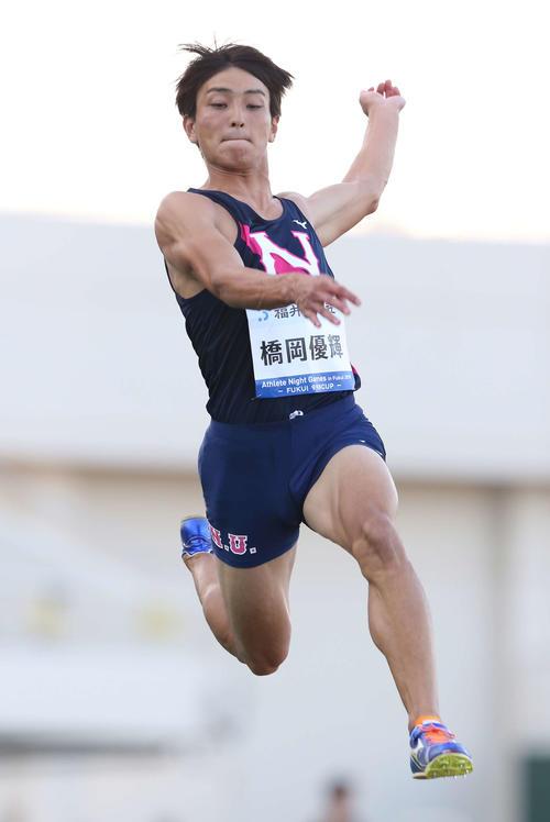 男子走り幅跳びで8メートル32の日本記録を樹立した橋岡(撮影・河野匠)