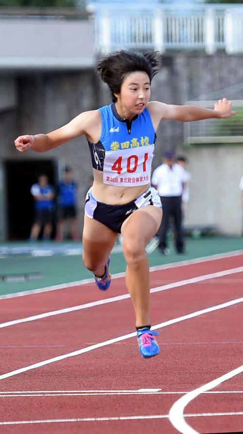 8月31日、東北総体・女子100メートルを制した三浦
