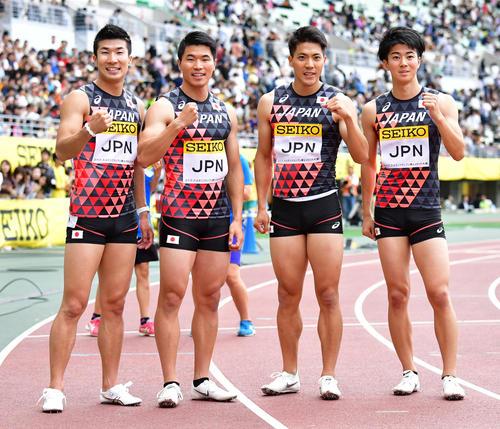 19年5月19日、セイコー・ゴールデングランプリ大阪の男子400リレーで優勝した日本チーム