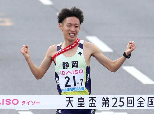 5位でゴールした静岡県アンカーの伊藤(撮影・上山淳一)