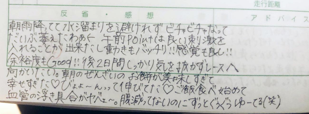 松田が23日の練習日誌に記した感想(撮影・上田悠太)
