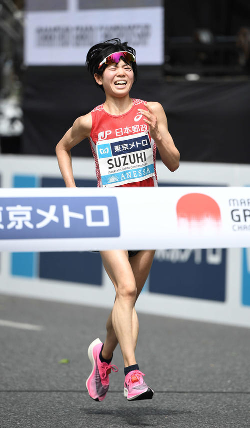 Photo of Olympic marathon representative Ayuko Suzuki gets away from right foot meat