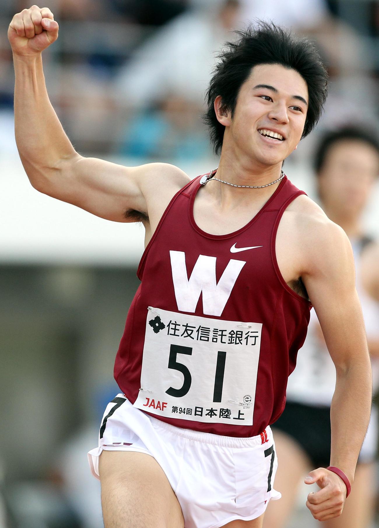 日本選手権男子100メートル決勝、優勝する江里口匡史氏(2010年6月6日撮影)