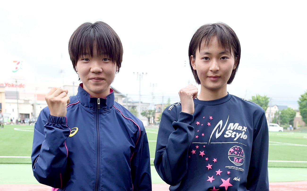 青森山田 今絵里南(右)と対馬千紘(2020年5月17日撮影)