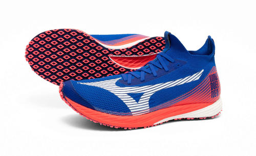 Photo of Mizuno's new shoes, Soka University, Shimazu new section with prototype