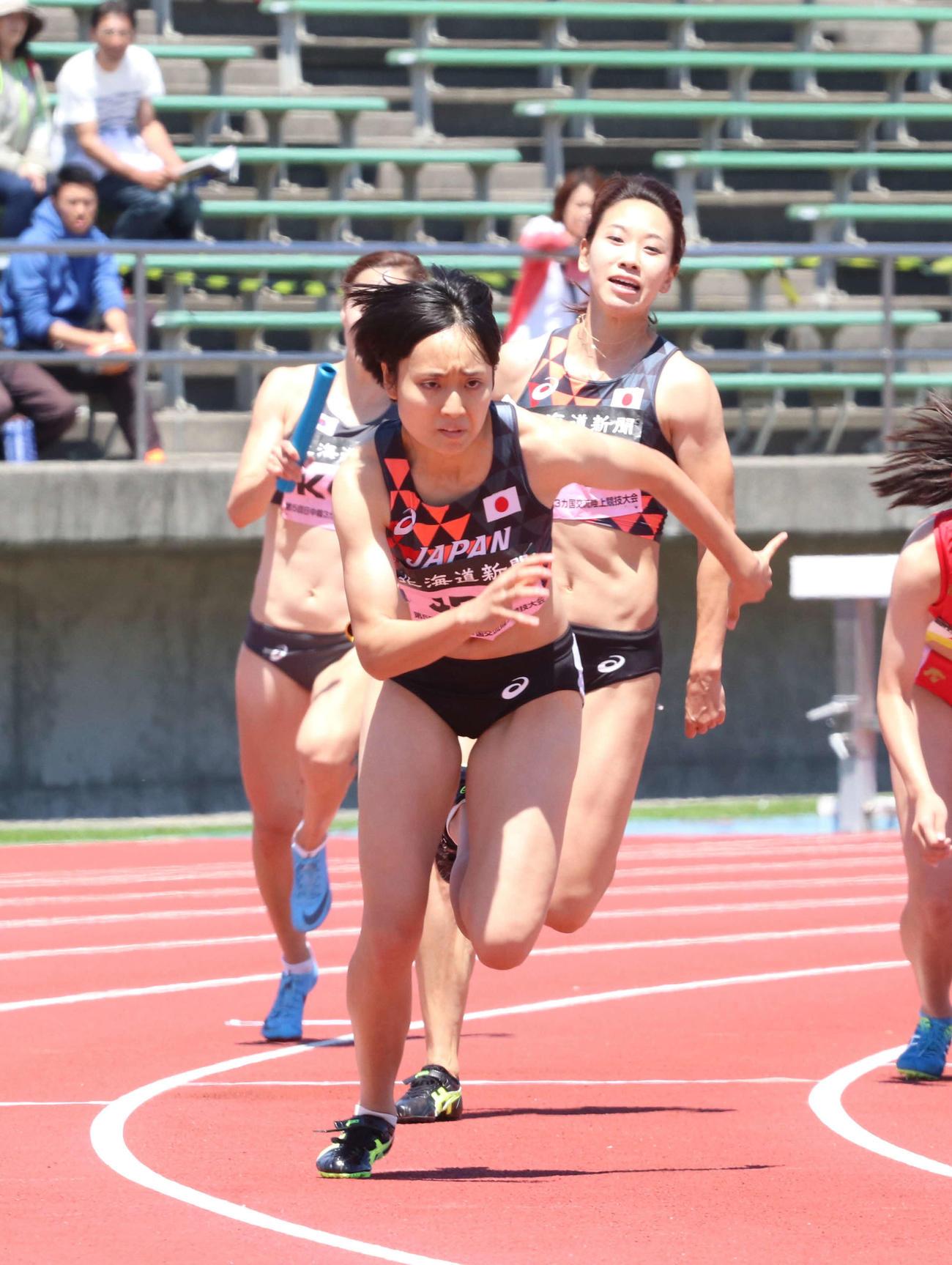 18年7月の日中韓3カ国交流大会女子400リレーで日本の4走を務めた御家瀬