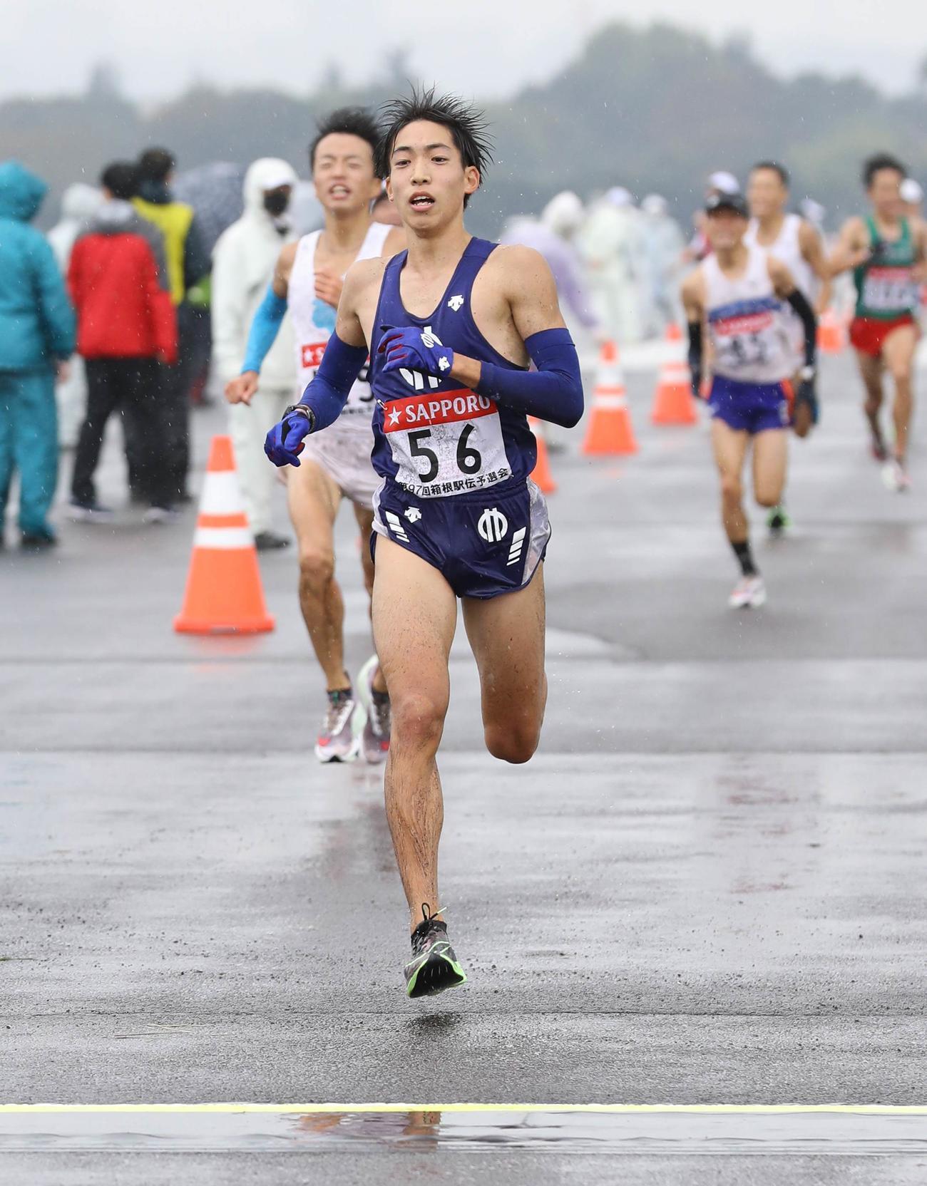 日本人トップの順大・三浦(代表撮影)