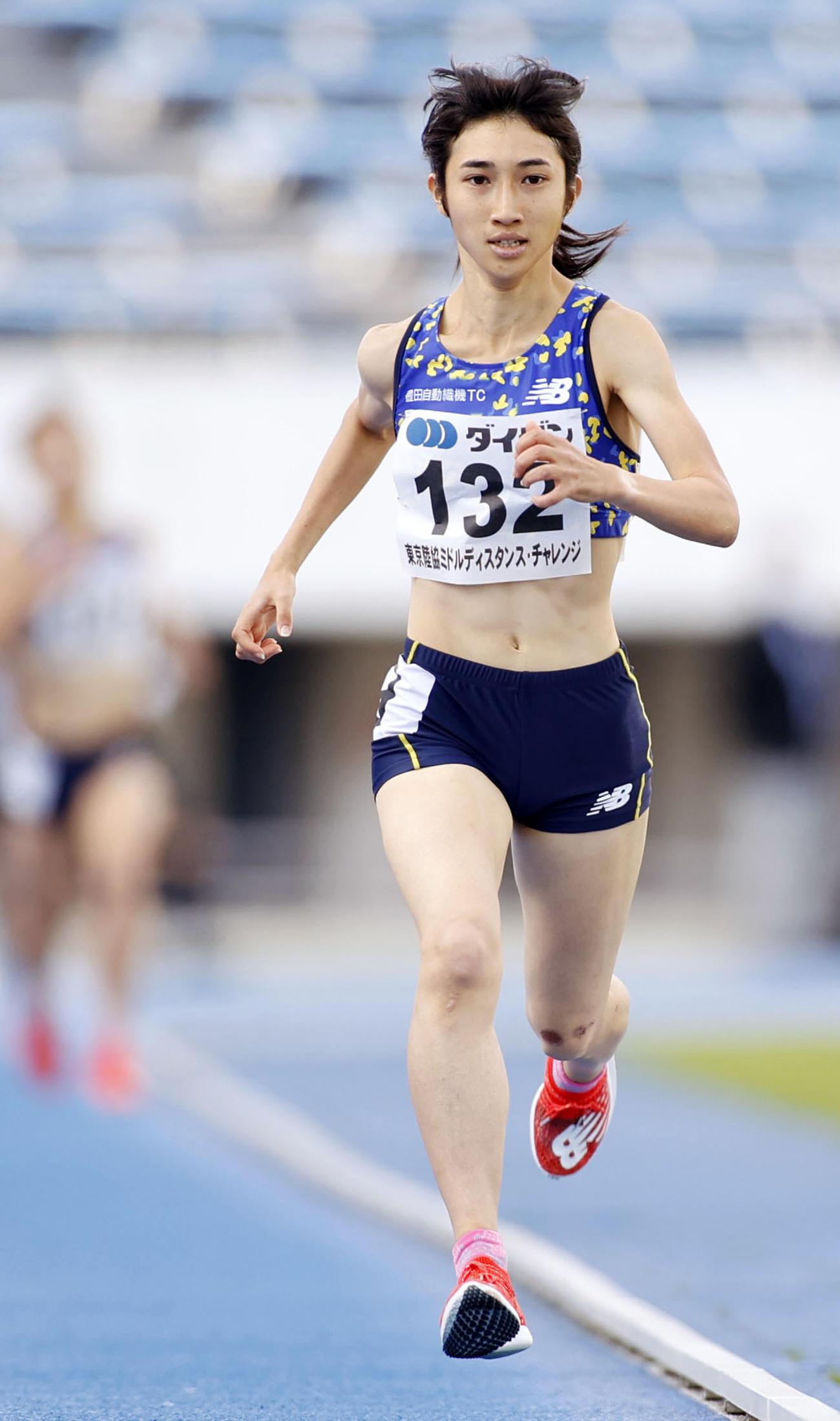 女子1500 メートル  4分10秒41で快勝した田中希実(共同)