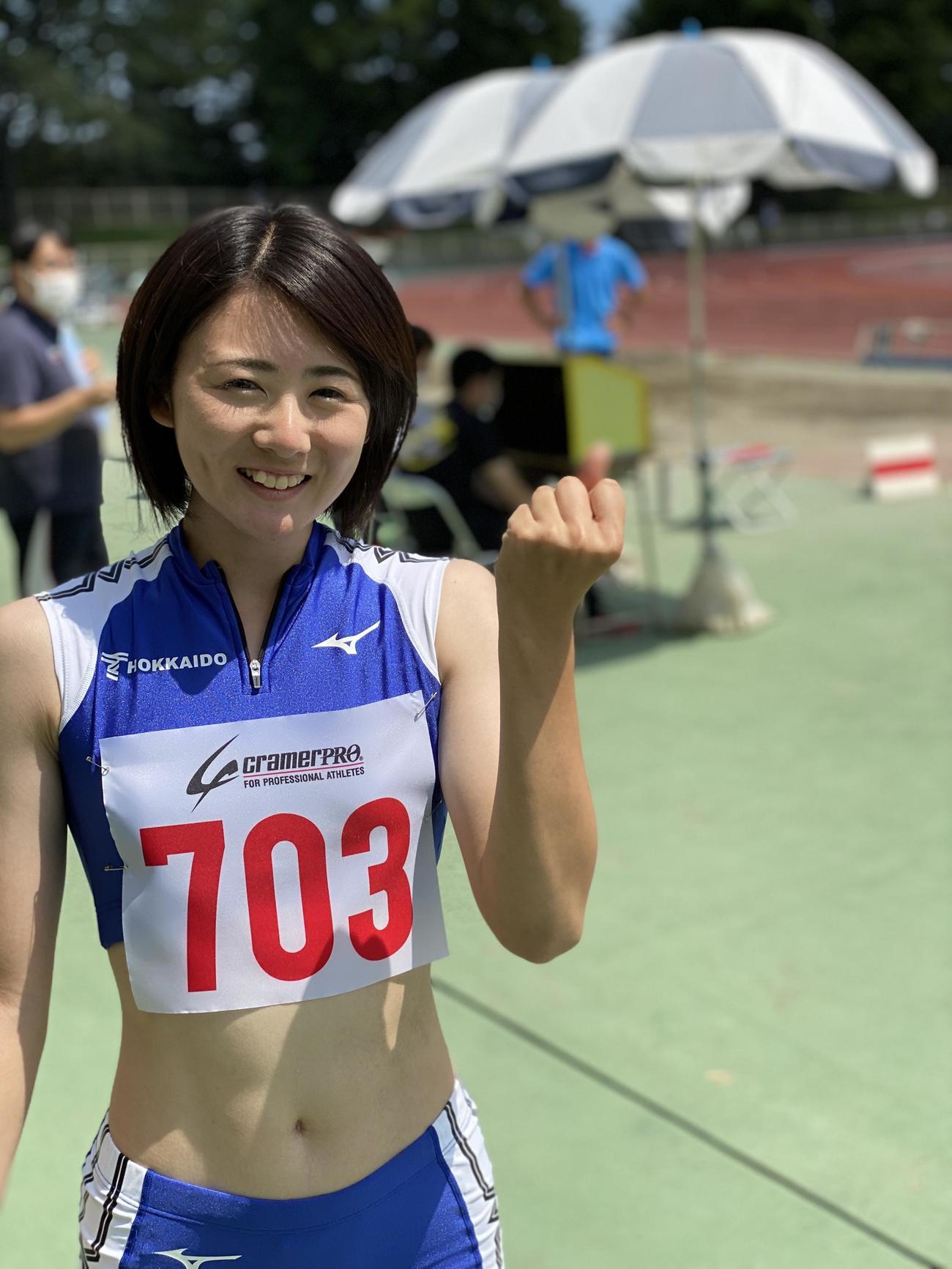 昨年初出場の日本選手権で5位になった陸上女子走り幅跳びの東海大北海道・小玉(本人提供)