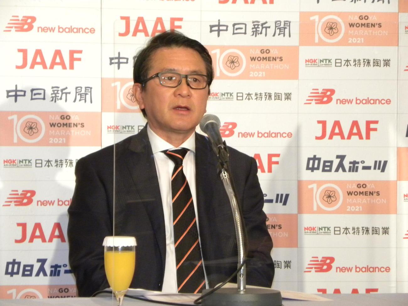 名古屋ウィメンズマラソンの招待選手発表記者会見に出席した、日本陸連の瀬古マラソン強化戦略プロジェクトリーダー(撮影・松本航)