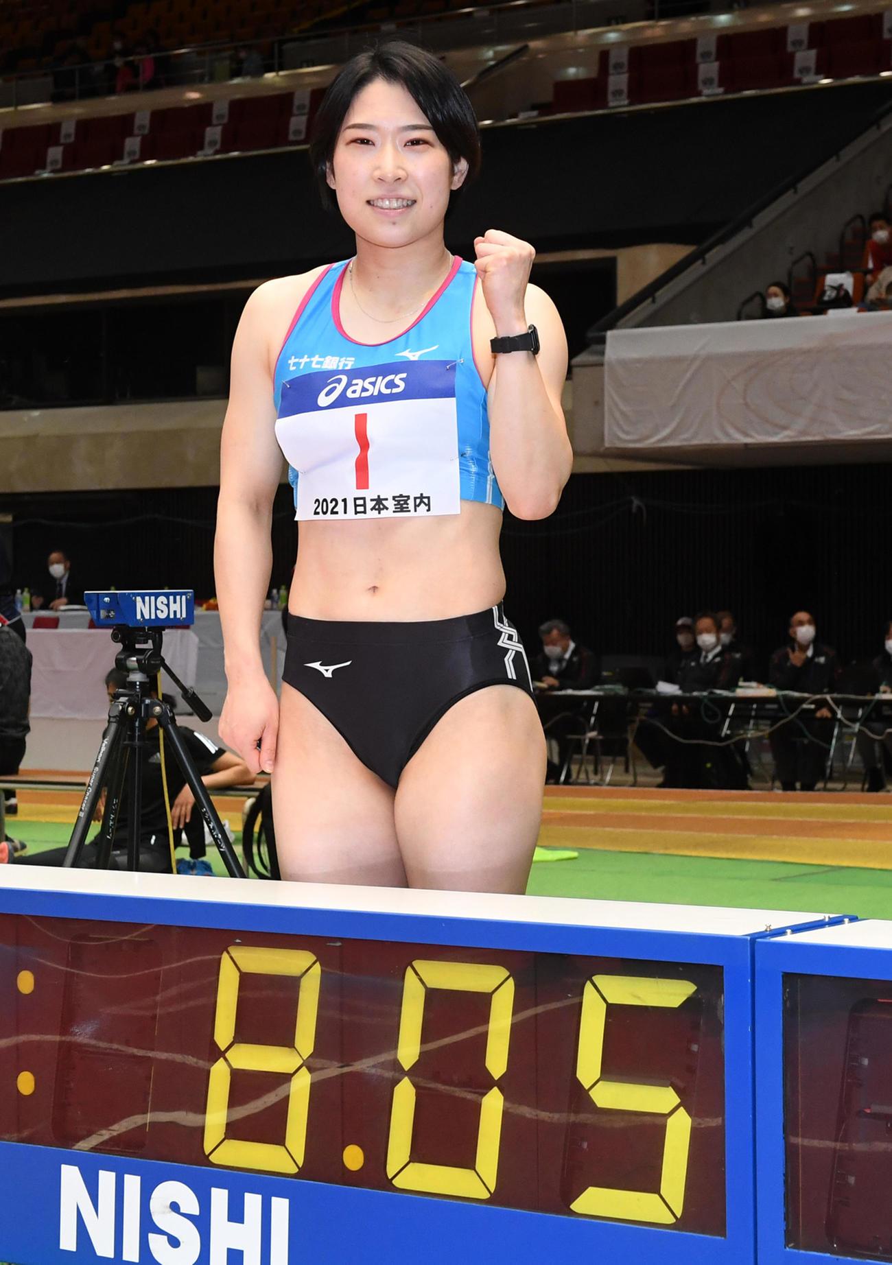 日本室内陸上競技大阪大会 女子60メートル障害決勝で、予選に続いて室内日本新記録をマークした青木益未(撮影・前岡正明)