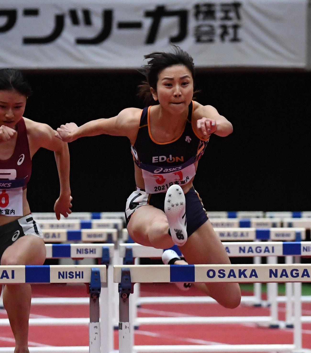 女子60メートル障害決勝で2位となった木村文子(撮影・前岡正明)