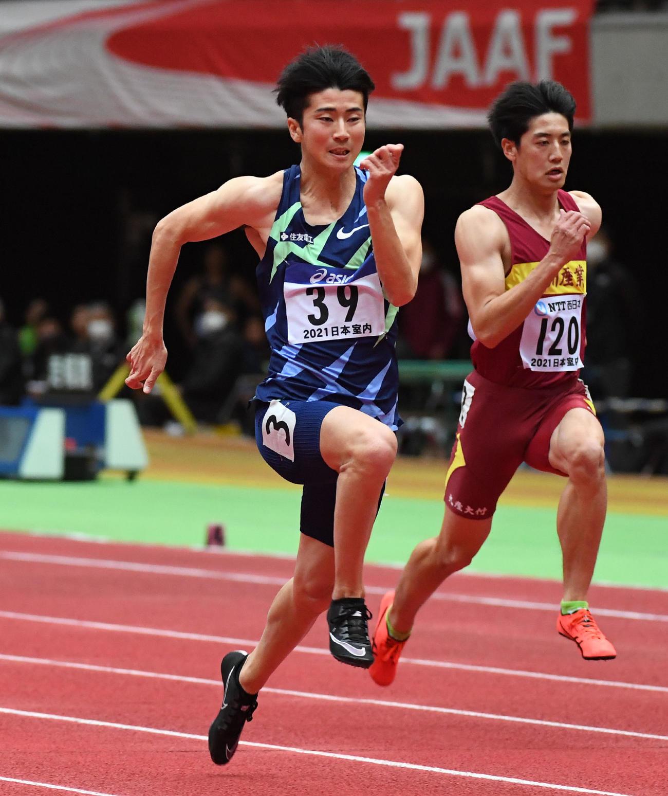 男子60メートル予選で大会新記録をマークした多田修平(撮影・前岡正明)