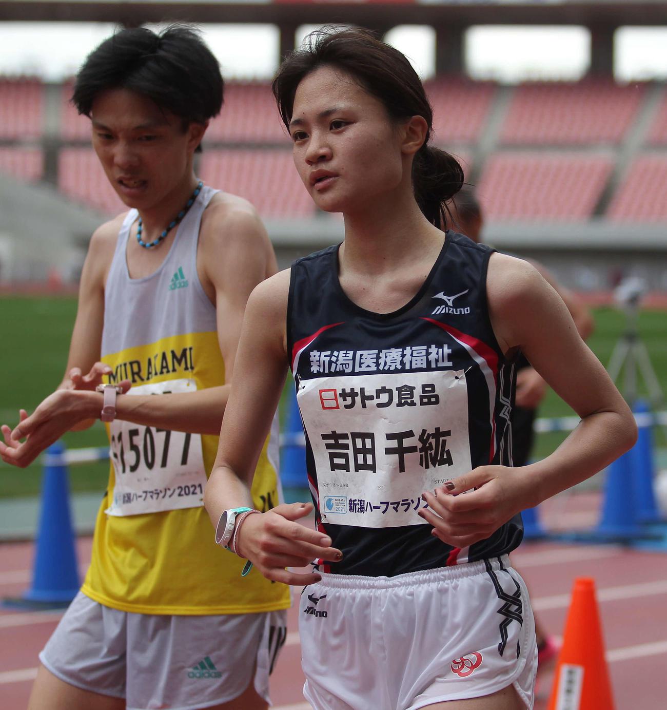 県勢トップの5位でゴールした吉田は汗を噴き出させながらも涼しい顔