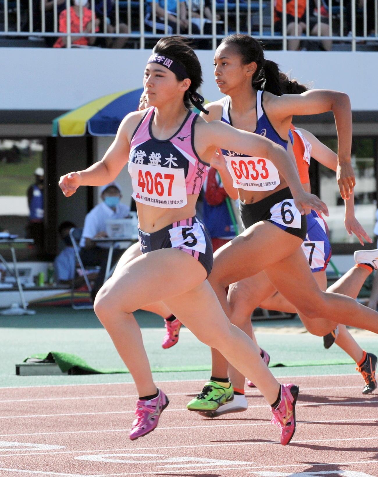 佐藤美は東北高校選手権・女子100メートル決勝で優勝し4冠獲得のスタートを切る(2021年6月20日撮影)