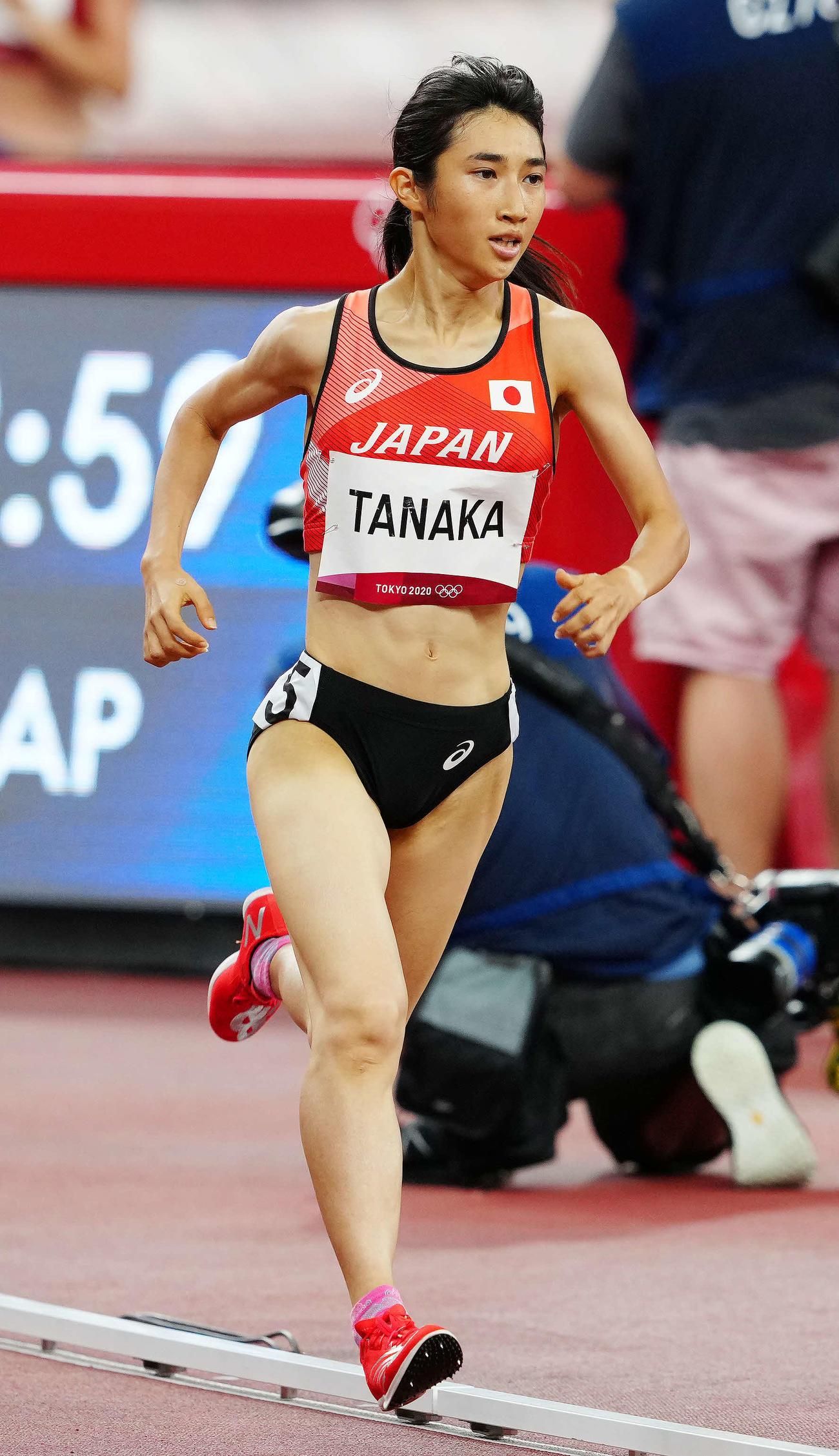 2020年東京五輪 陸上女子1500メートル決勝 力走する田中希実(2021年8月6日撮影)