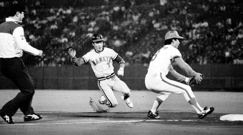 1983年6月3日、三盗を決め、当時のメジャー記録「939」盗塁を抜き、世界トップに躍り出た阪急福本豊