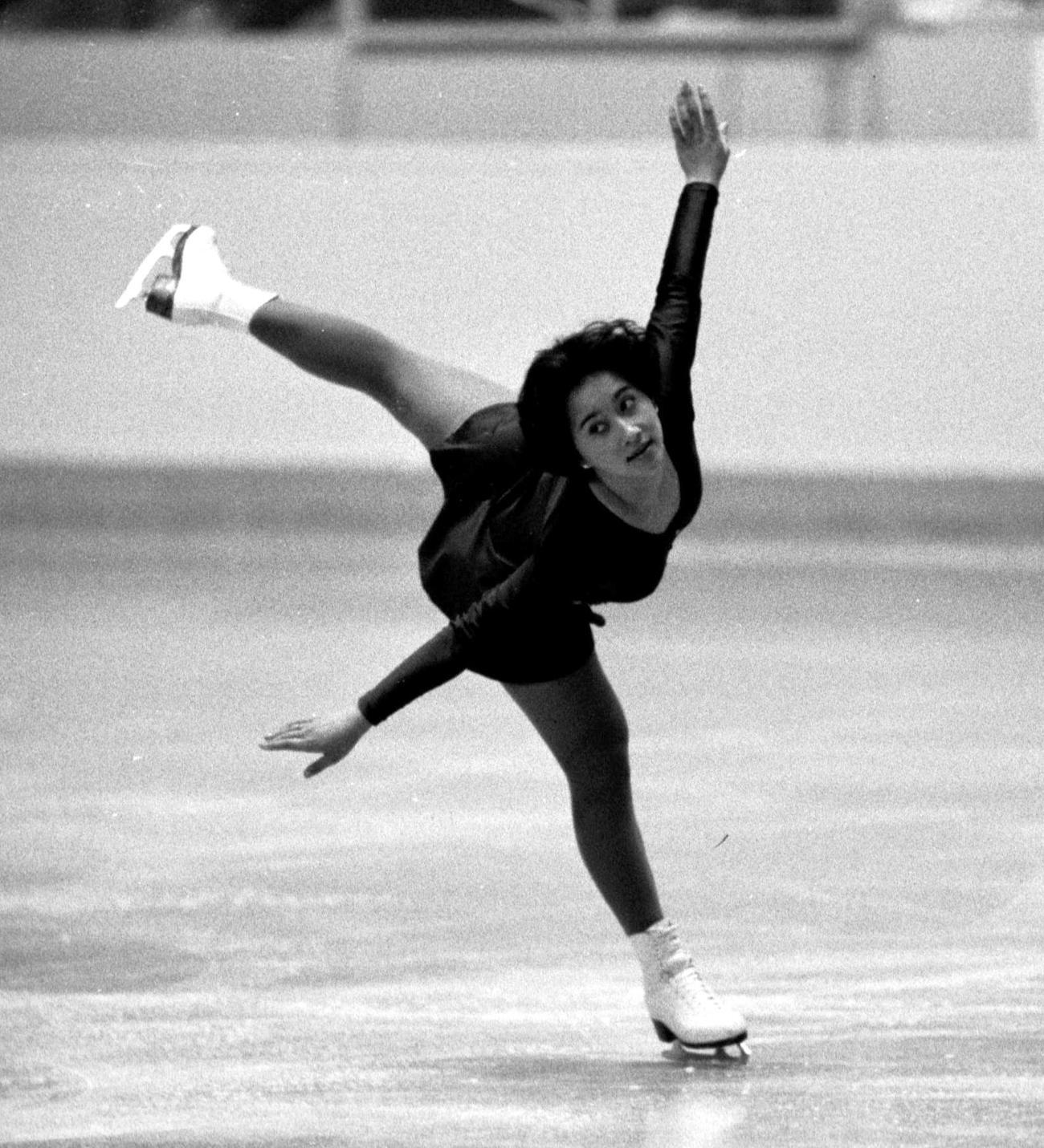 78年、日ソフィギュアスケート大会で華麗な演技を披露する渡部絵美