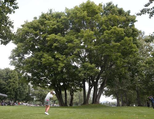 ニトリレディス 第3日目 9番、2打目を樹木の間を通す渋野(撮影・黒川智章)