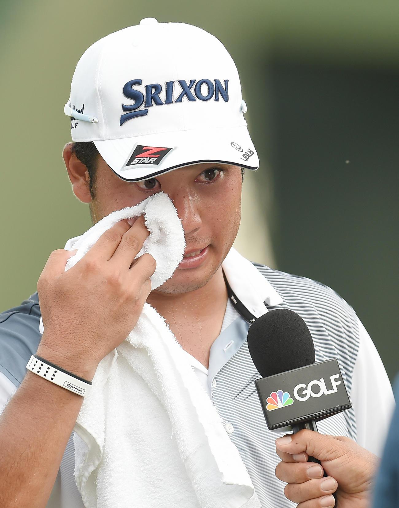 全米プロゴルフ 最終日 5位タイでホールアウトし悔し涙を流す松山英樹(2017年8月13日撮影)