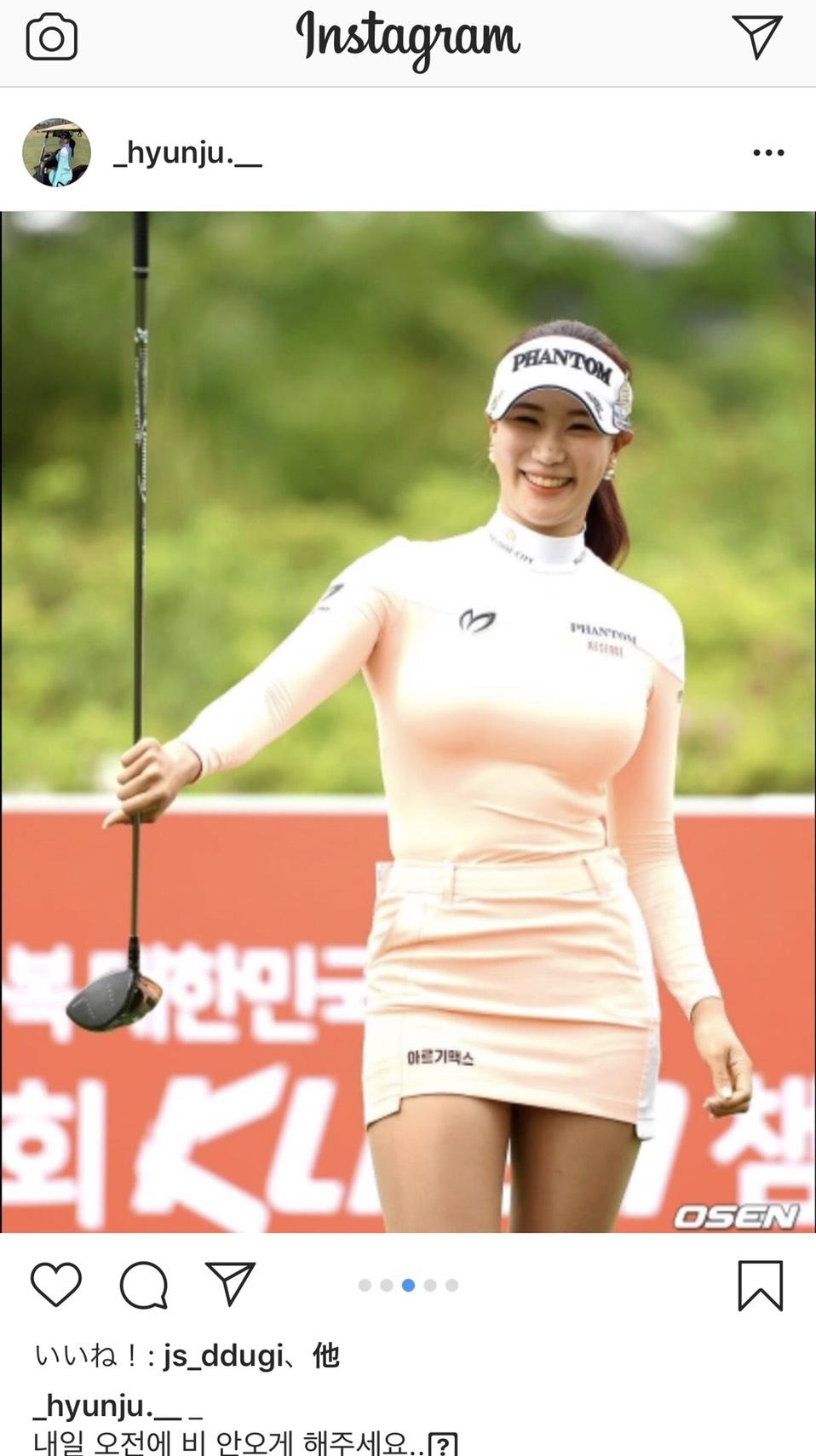 第1日のプレー写真をインスタグラムに公開したユ・ヒョンジュ