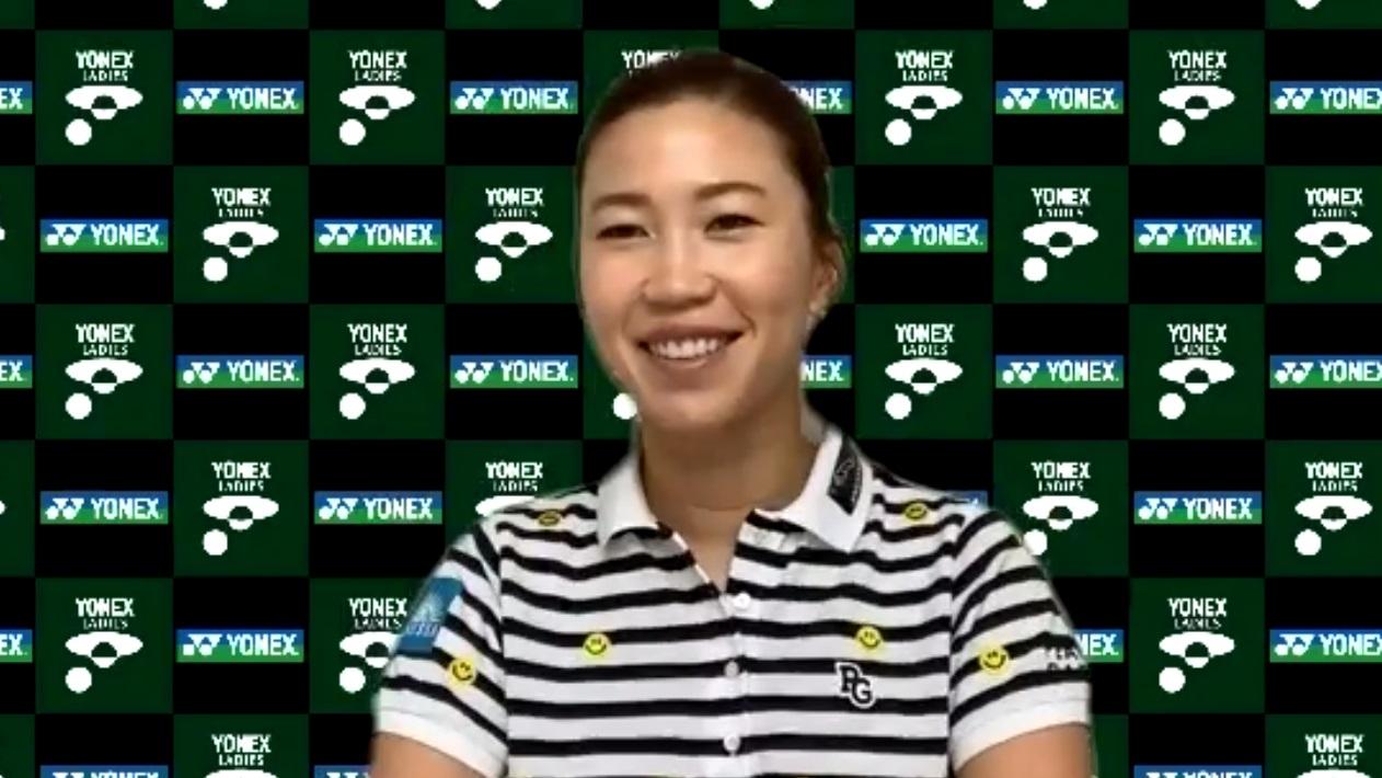 オンラインで会見を行った上田桃子(日本女子プロゴルフ協会提供)