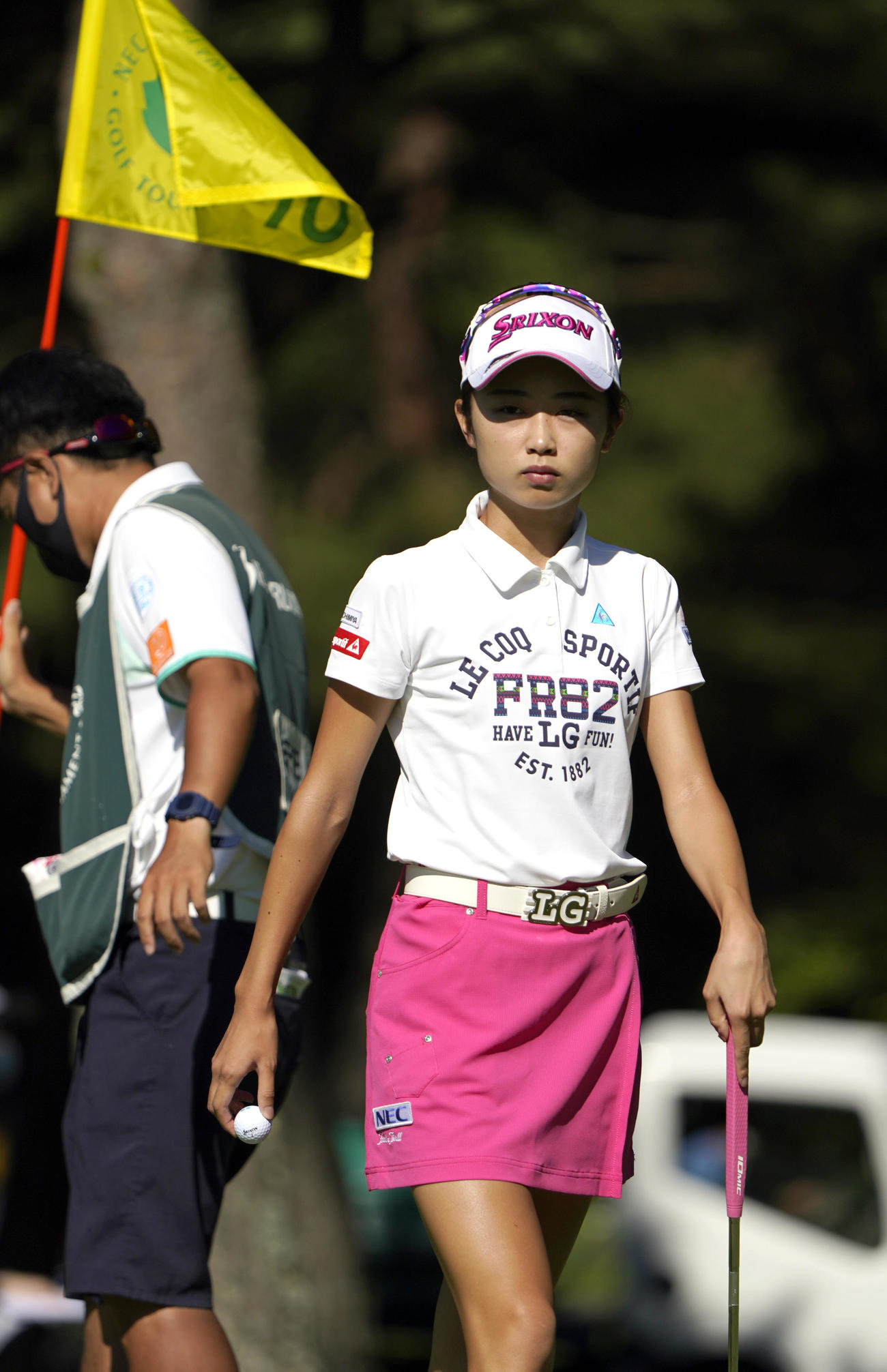 第2日、10番でパーをセーブした安田祐香(代表撮影)