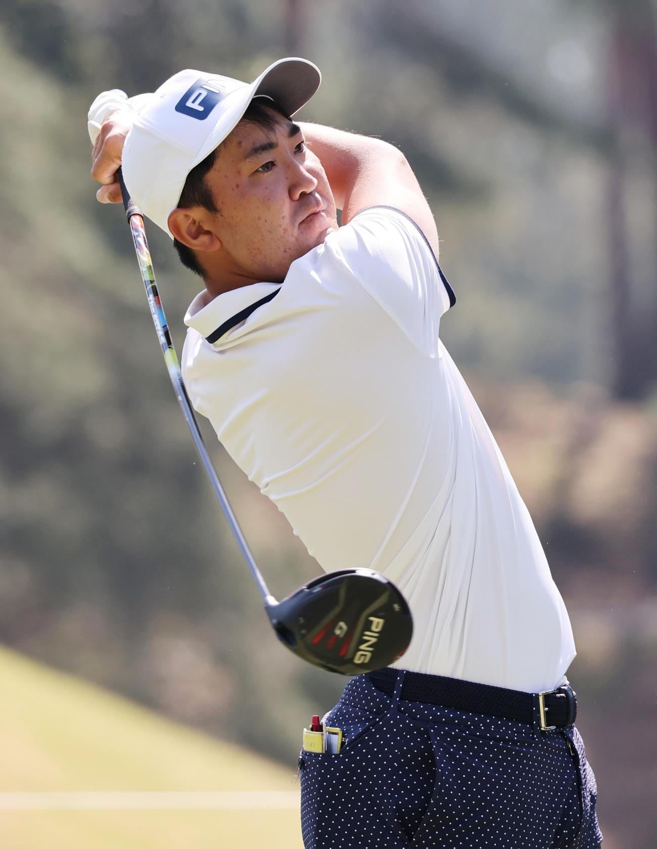 関西オープンゴルフ選手権 練習ラウンドを行う金谷(撮影・清水貴仁)