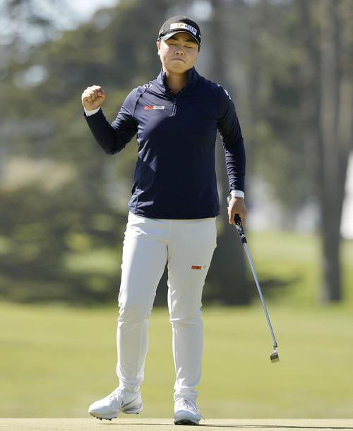 ゴルフの全米女子オープン選手権で畑岡奈紗とのプレーオフを制し、メジャー初優勝を果たした笹生優花(ゲッティ=共同)