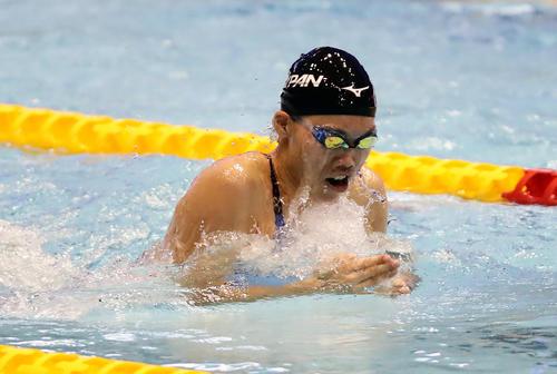女子100 メートル 平泳ぎ決勝 青木は力泳を見せて銅メダルを獲得(撮影・浅見桂子)