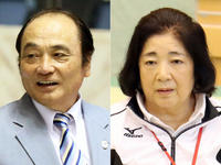 塚原光男副会長(左)と塚原千恵子女子強化本部長