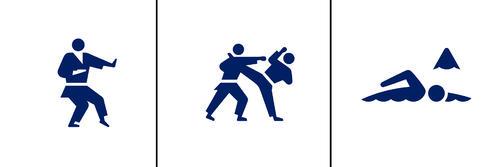 左から空手(形)、空手(組手)、マラソンスイミング