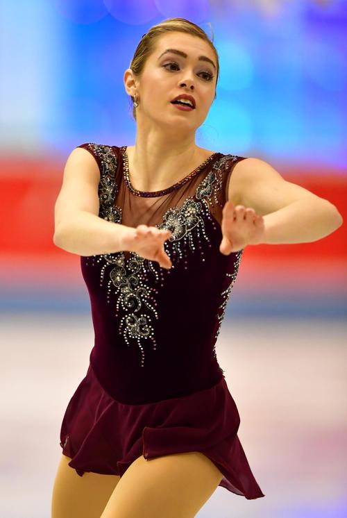 女子フリーで滑るアレーヌ・シャルトラン(カナダ)(撮影・清水貴仁)