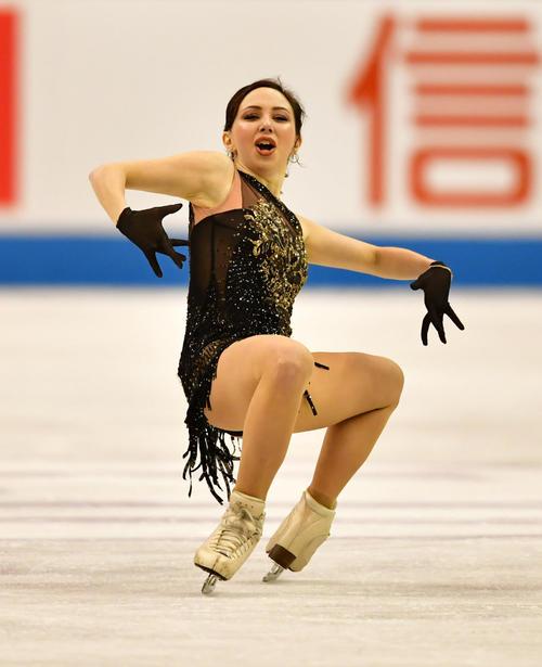 女子フリーで滑るエリザベータ・トゥクタミシェワ(ロシア)(撮影・清水貴仁)