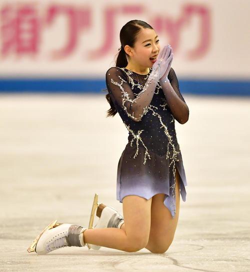 世界フィギュアスケート国別対抗戦2019 女子フリーで滑る紀平梨花(撮影・清水貴仁)