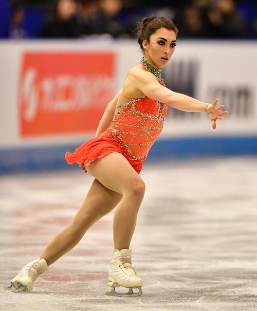 女子フリーで滑るガブリエル・デールマン(カナダ)(撮影・清水貴仁)