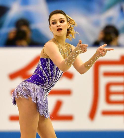 女子フリーで滑るソフィア・サモドゥロワ(ロシア)(撮影・清水貴仁)