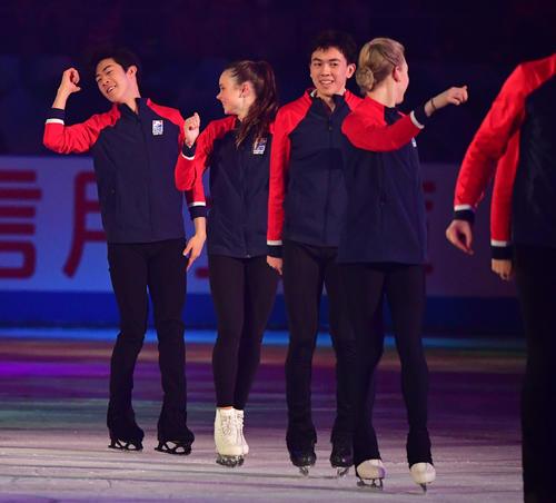 世界フィギュアスケート国別対抗戦2019 エキシビションで米国チームはDA PUMP「USA」で滑る(撮影・清水貴仁)
