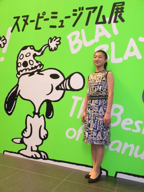 グランフロント大阪で行われている「スヌーピーミュージアム展」を訪れた坂本花織(撮影・松本航)